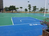 浩康PBO室外卷材地板为孩子们打造室外篮球场