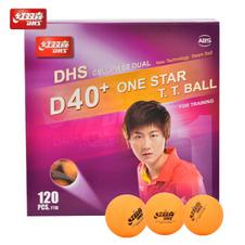 红双喜【DHS】乒乓球 赛顶D40+ ABS 有缝球 黄色一星(120只装)CD40CY0