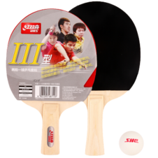 红双喜【DHS】III型乒乓球成品拍双拍2只初学兵乓球拍直拍横拍ppq III型直拍(两只)